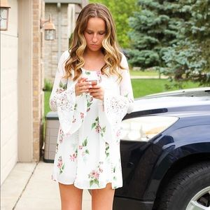 Floral White and Lace Dress